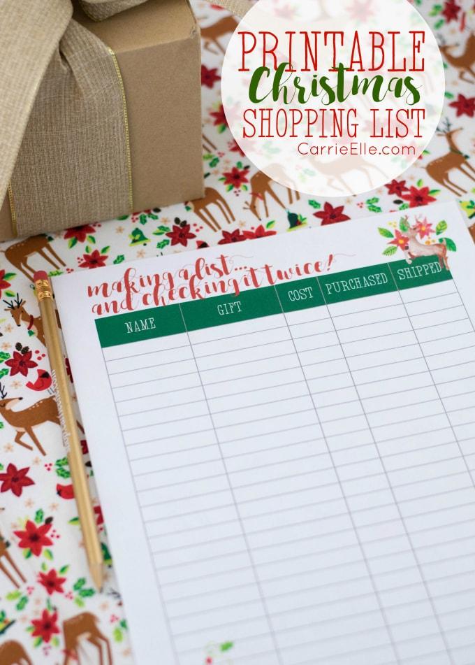 Printable Christmas Shopping List Carrie Elle