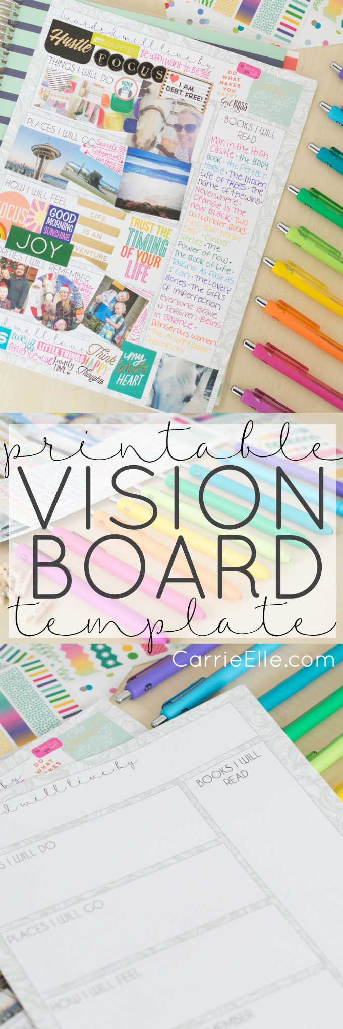 Printable vision board template carrie elle for Vision board templates free