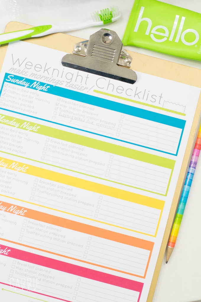 printable evening routine checklist