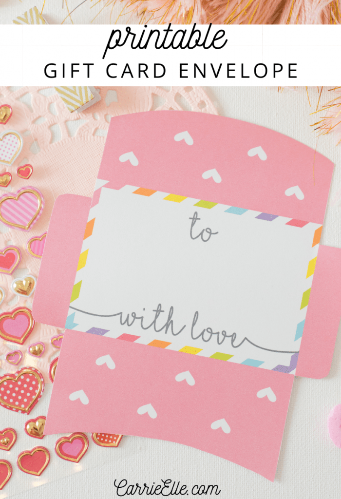 A printable gift card envelope is perfect for Valentine's Day, showers, birthday parties & more. It's a great way to dress up a gift card!