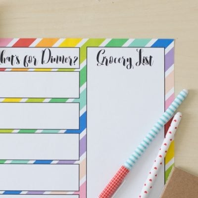 Rainbow Meal Planning Printable
