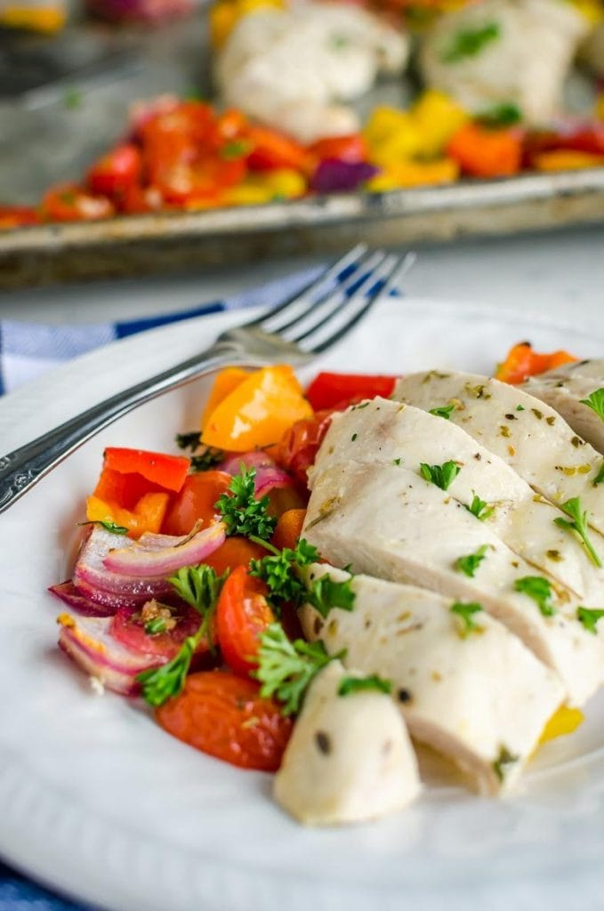 21 Day FIx Lemon Garlic Chicken Sheet Pan Dinner