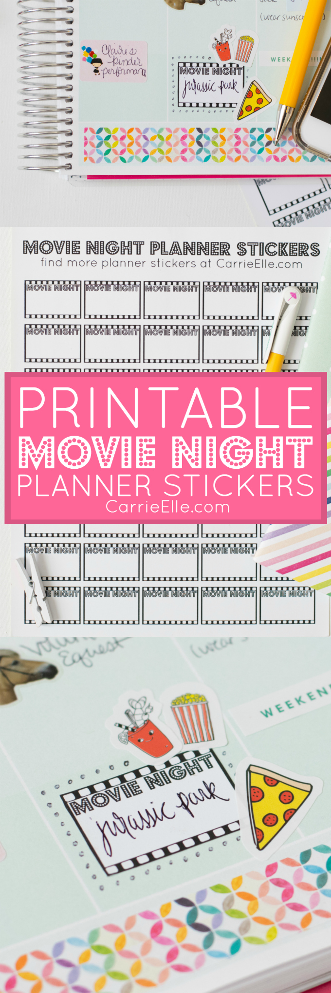 Printable Movie Night Planner Stickers