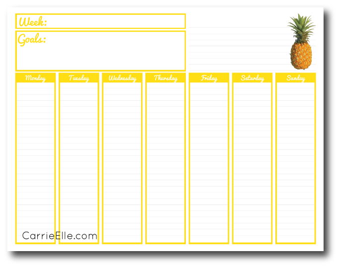 picture about Weekly Printable Calendars called Printable Weekly Calendar - Carrie Elle