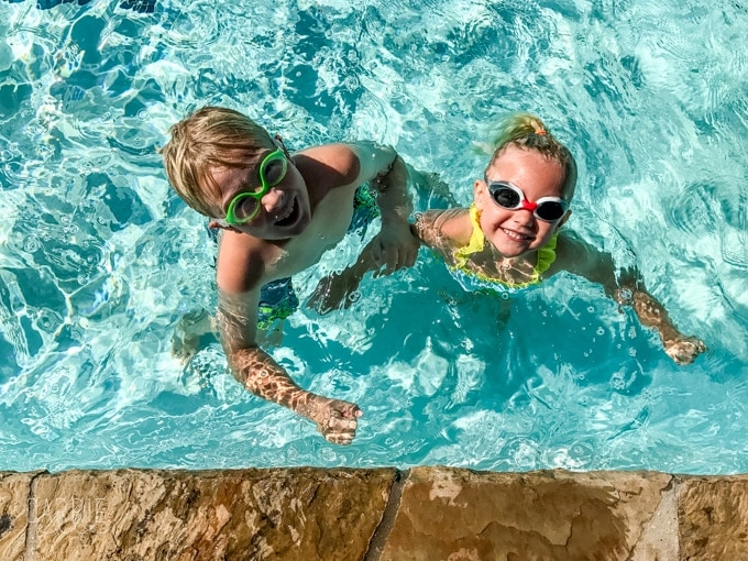 Swim lessons at home with sunsational swim school carrie elle Valentine pool swimming lessons