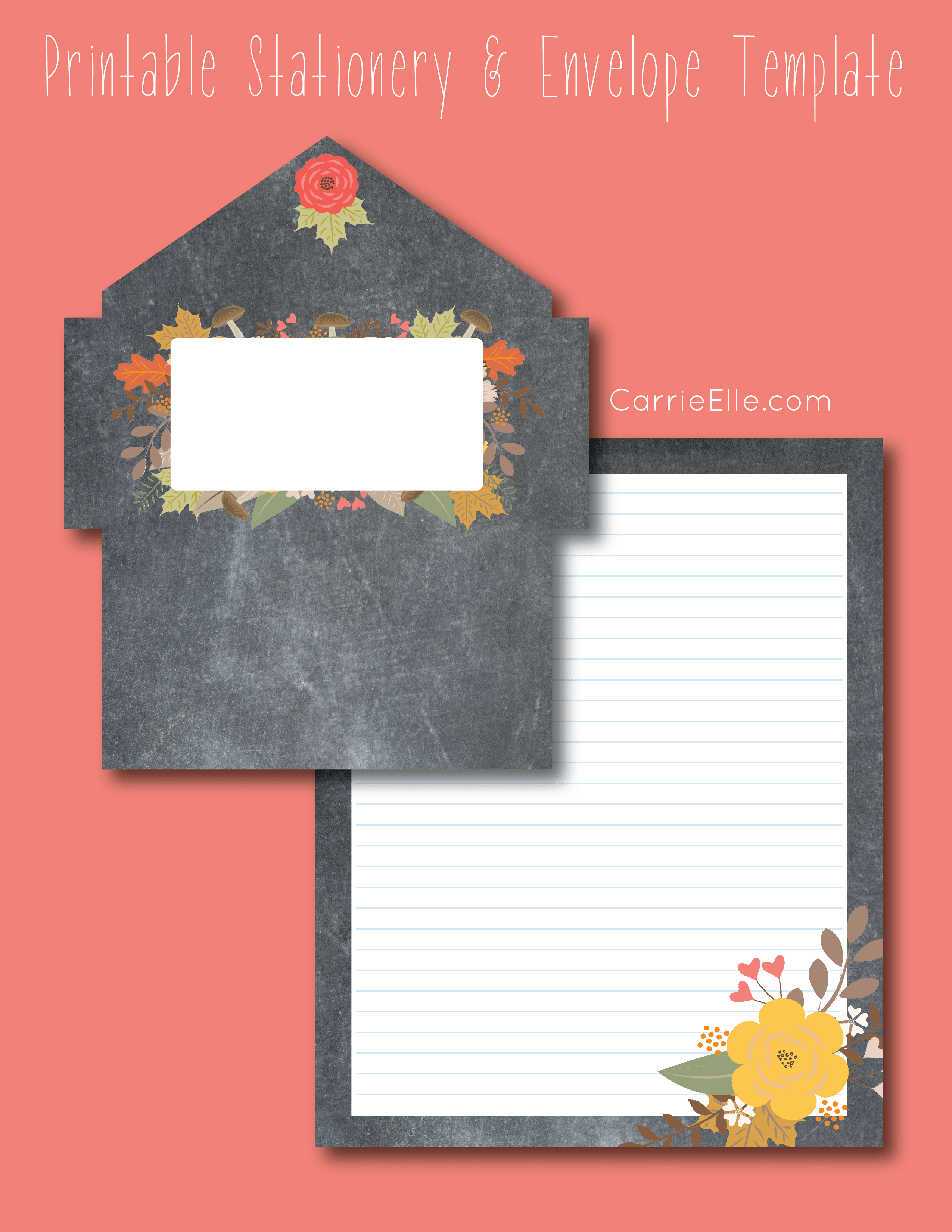 Letter Writing Challenge Printable Fall Stationery Carrie Elle