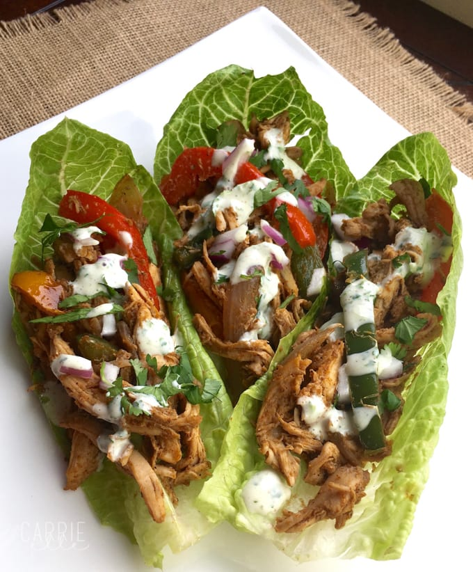 Steak, bell pepper, and onion fajitas in a lettuce wrap