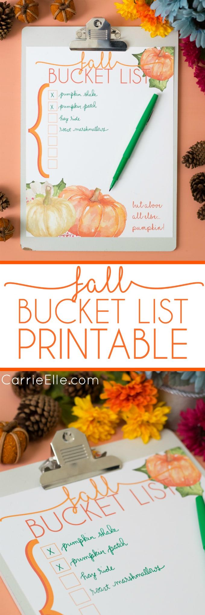 Fall Bucket List Printable Carrie Elle