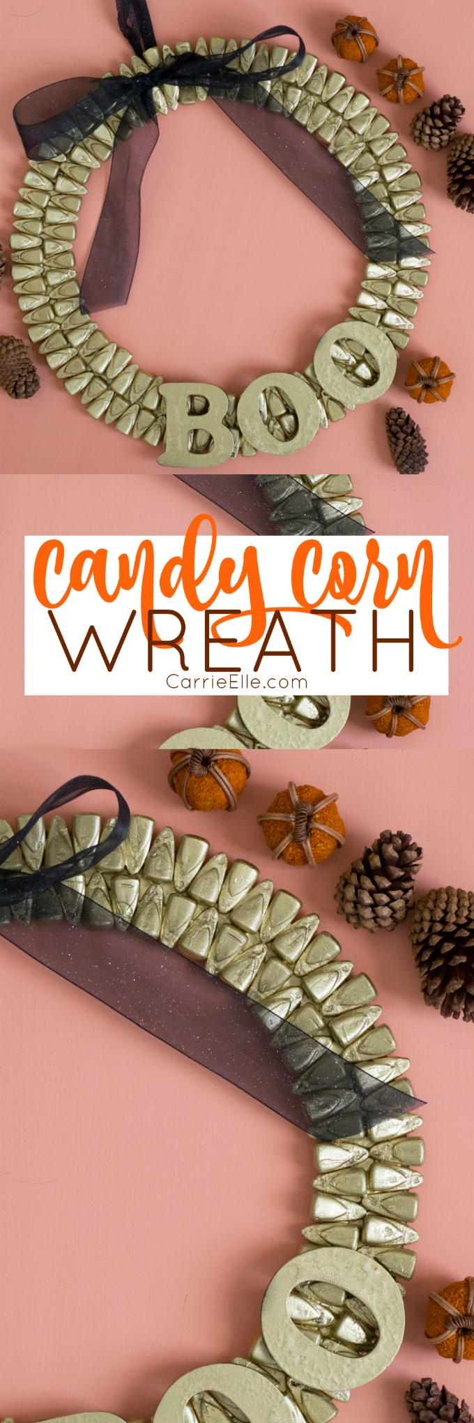 Gold Candy Corn Wreath