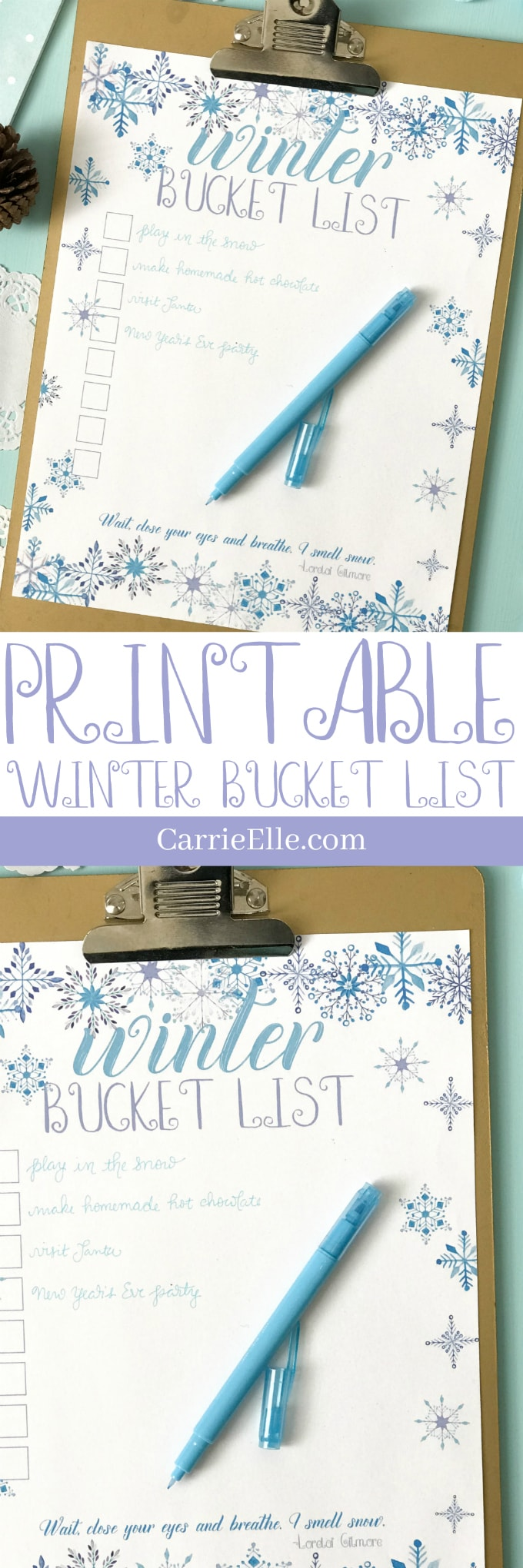 Printable Winter Bucket List