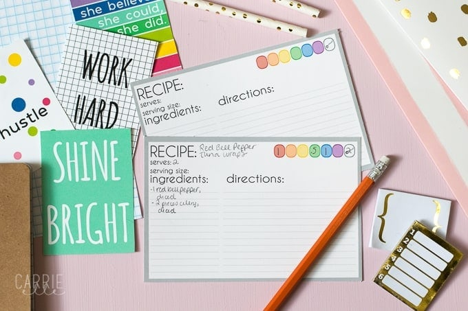Printable 21 Day Fix Recipe Cards