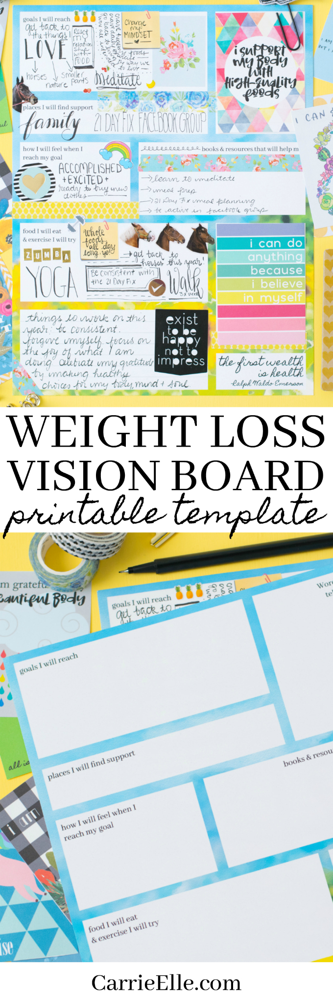 Printable weight loss vision board template carrie elle for Vision board templates free