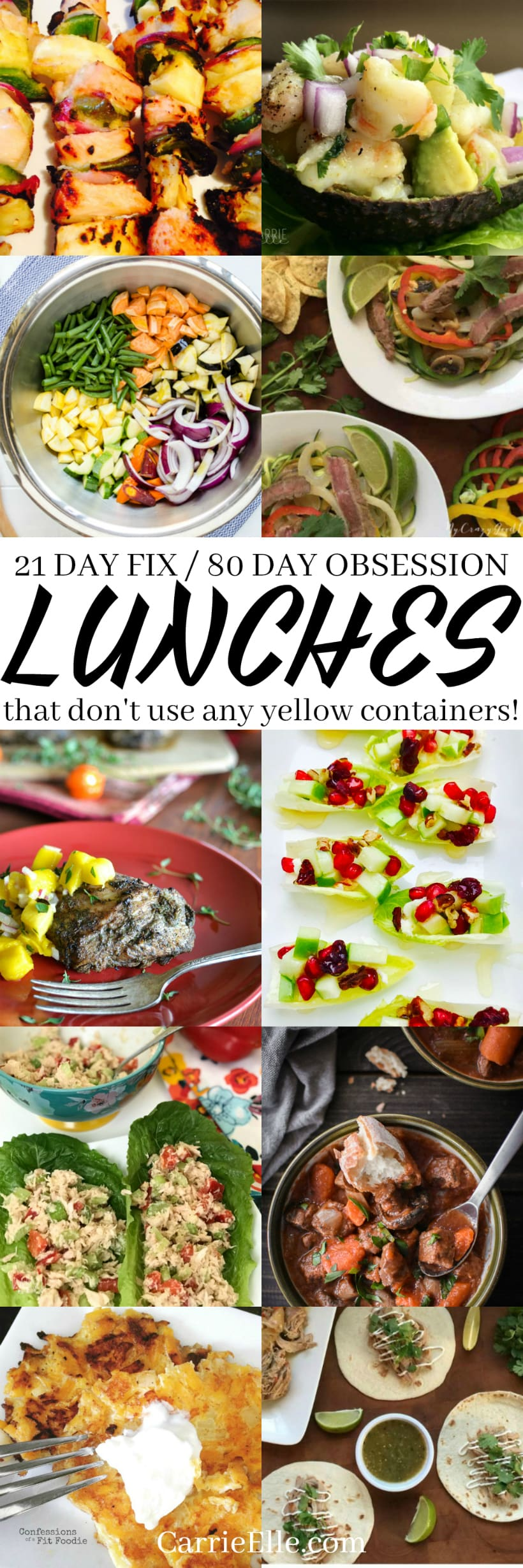 21 Day Fix No Yellows Lunches
