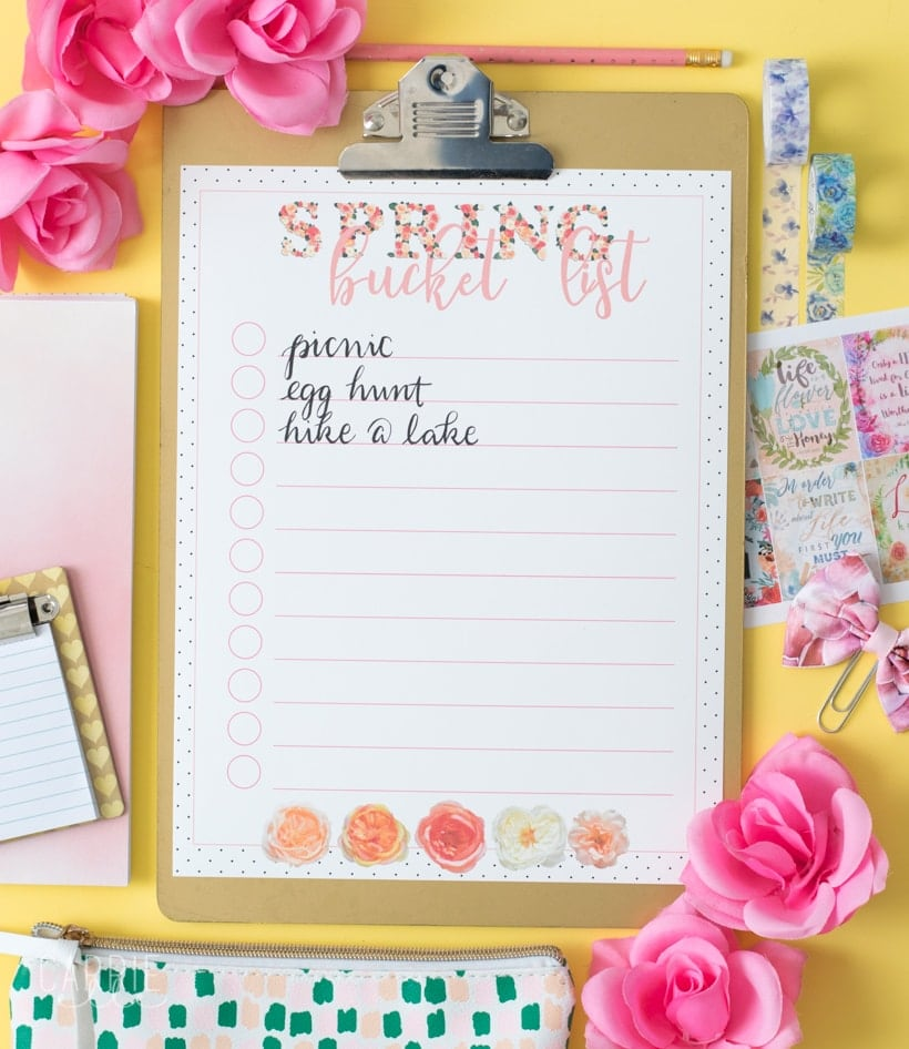 Printable Spring Bucket List