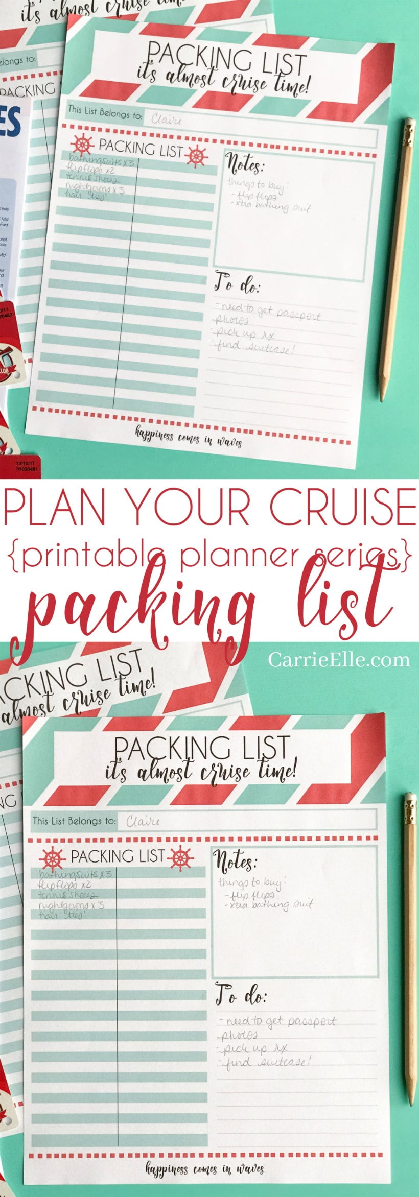 Printable Cruise Packing List for Kids