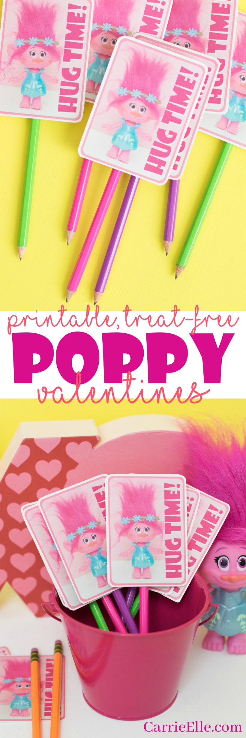Printable Poppy the Troll Valentines