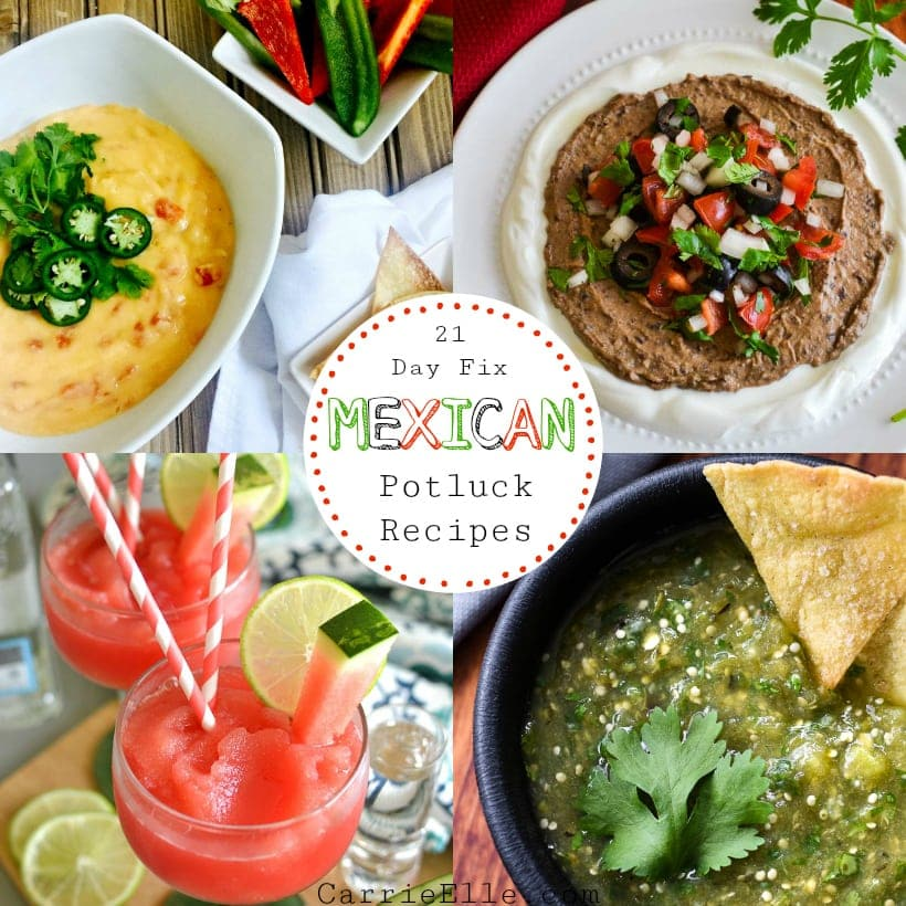 Photos of queso dip, bean hummus, margaritas, and salsa verde