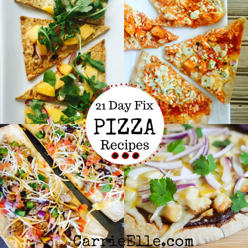 4 photos of 21 Day Fix pizzas -taco, peach, bbq, and buffalo