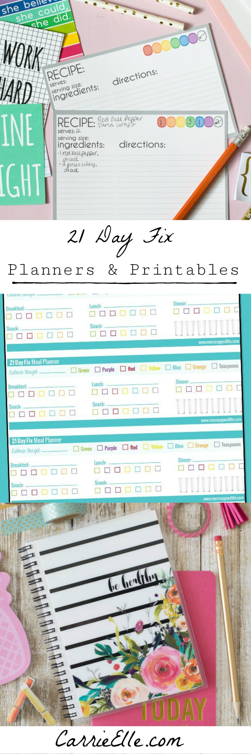 photo about 21 Day Fix Meal Planner Printable known as 21 Working day Repair Planners Printables - Carrie Elle