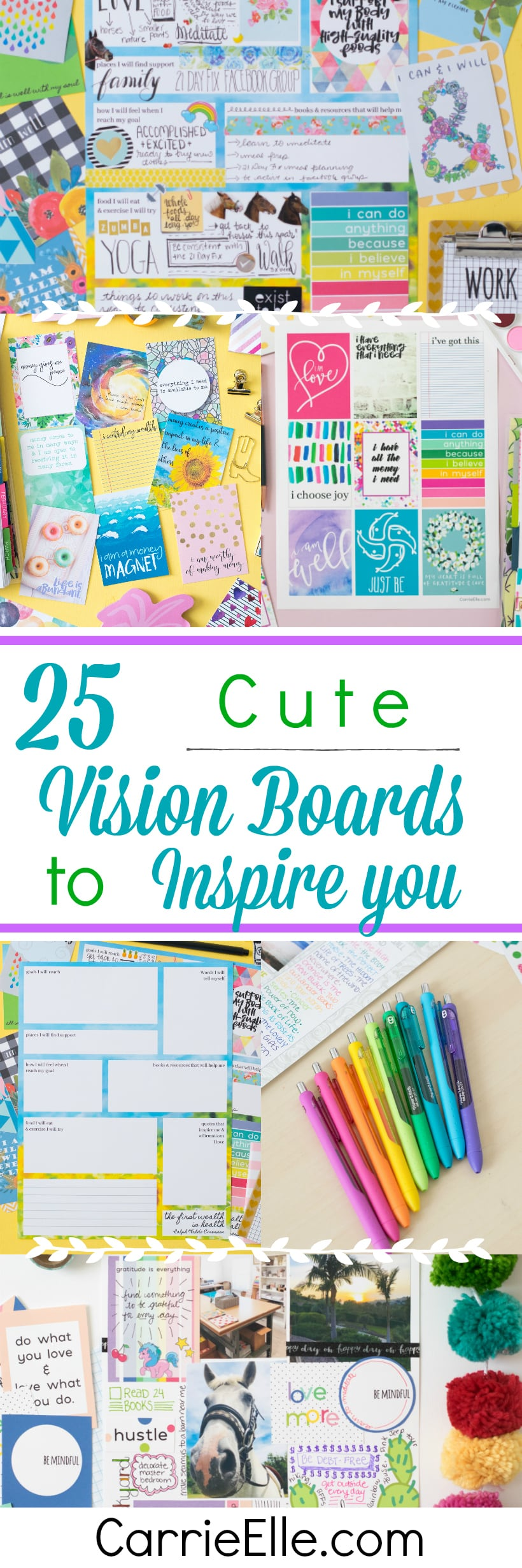 Photos of different vision boards