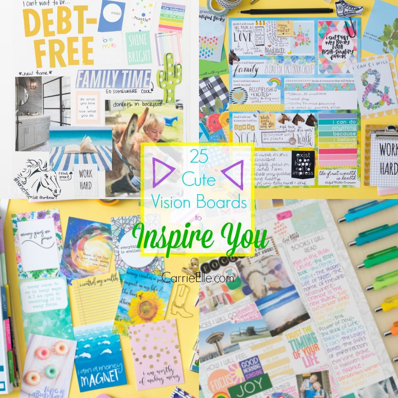 Photos of weight loss, time management, and debt-free vision boards