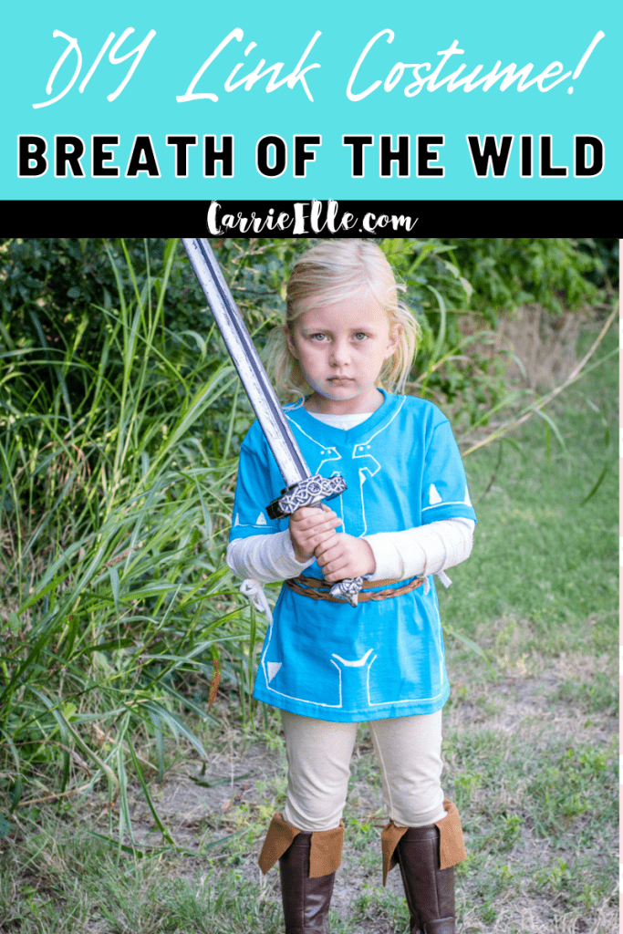 This DIY Link costume is inspired by The Legend of Zelda: Breath of the Wild. There is no sewing involved in this easy and inexpensive project!