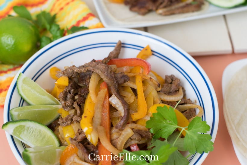 Bowl of Fajita Meat with Veggies