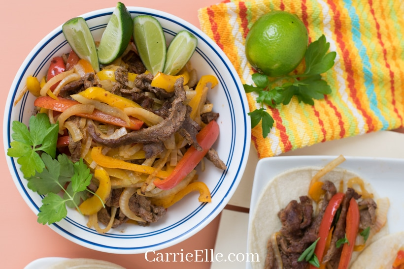 21 Day Fix Sheet Pan Fajitas on an Orange Table