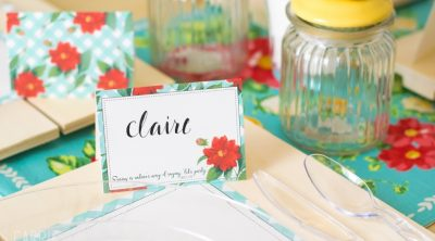 blue and red spring place card