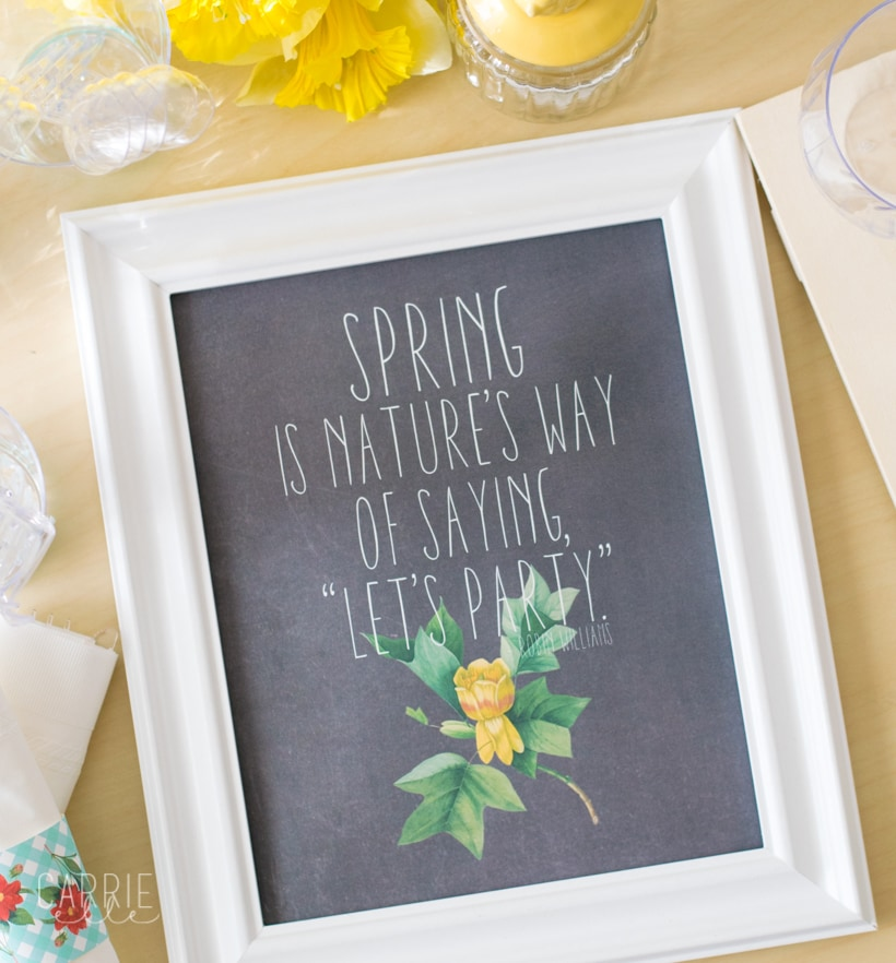 printable spring sign with quote