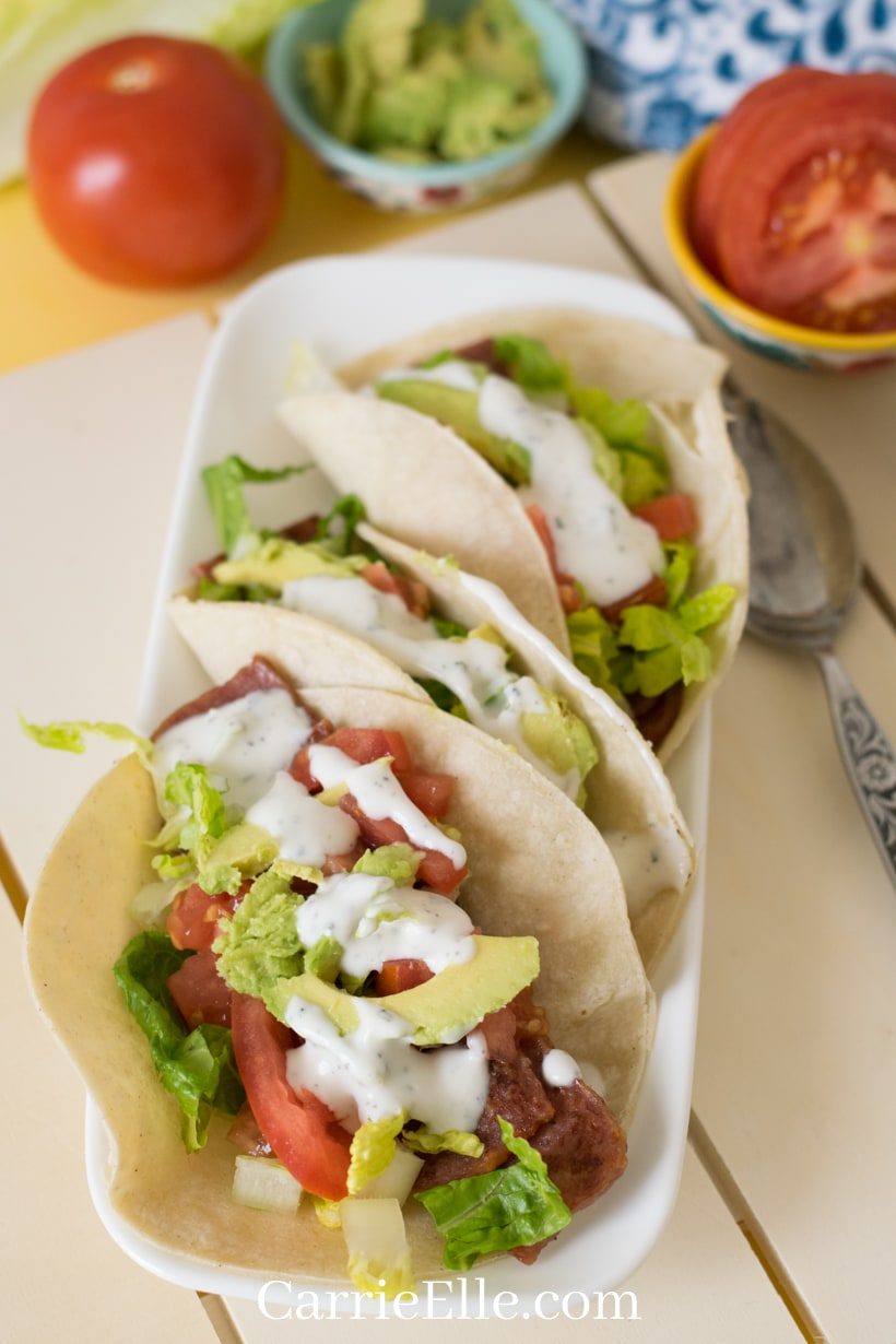 Delicious BLT Tacos ready to eat!