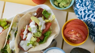 BLT tacos and toppings
