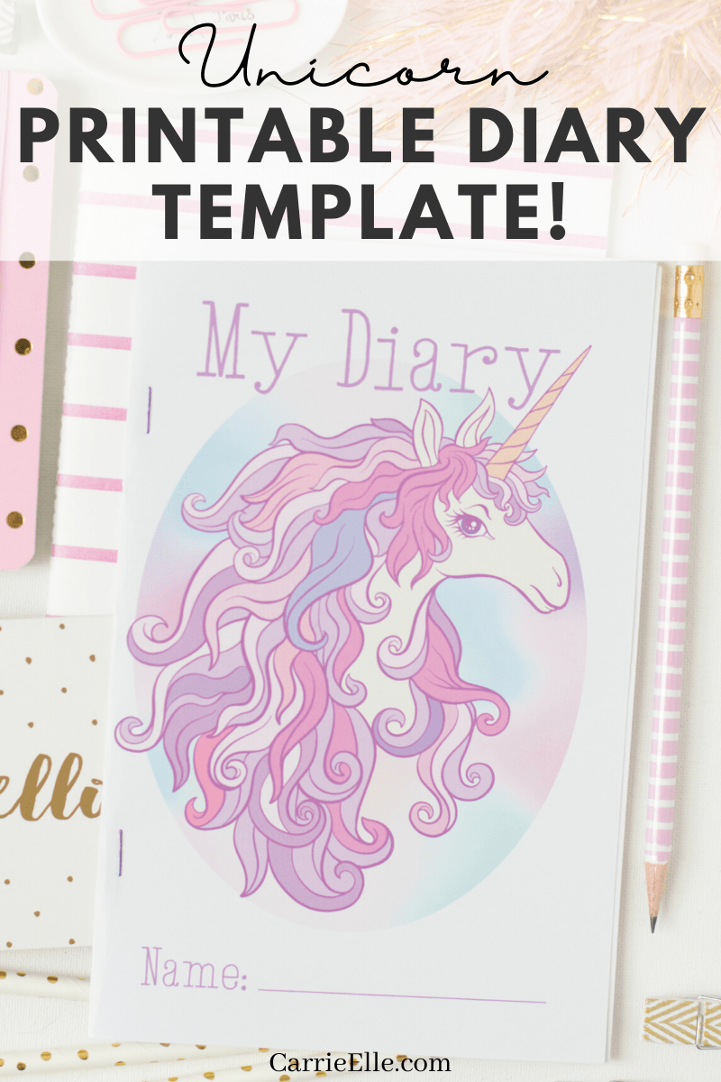 A printable diary template is perfect for anyone who loves unicorns. Print out the lined pages and pretty blank pages & start writing!