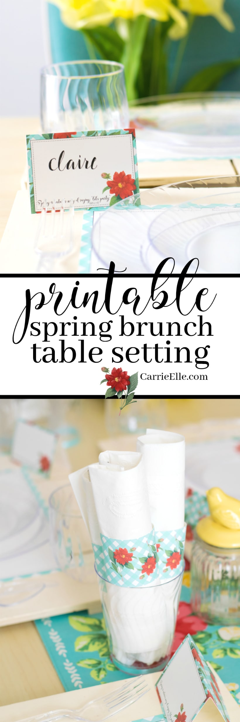 printable spring table setting  sc 1 st  Carrie Elle & Printable Spring Brunch Table Setting - Carrie Elle