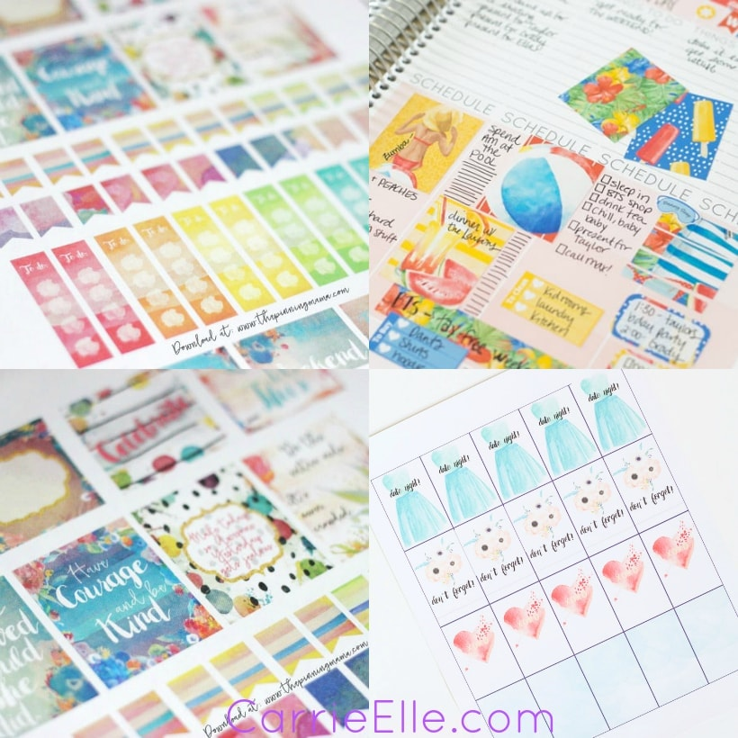 4 photos of colorful summertime planner stickers