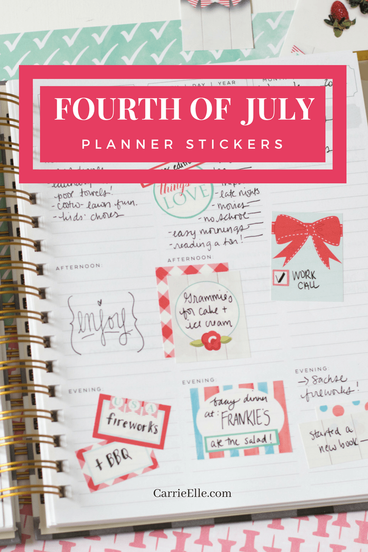 4th of July Planner Stickers