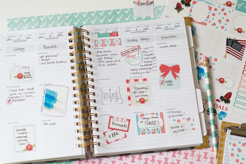 Printable 4th of July Planner Stickers