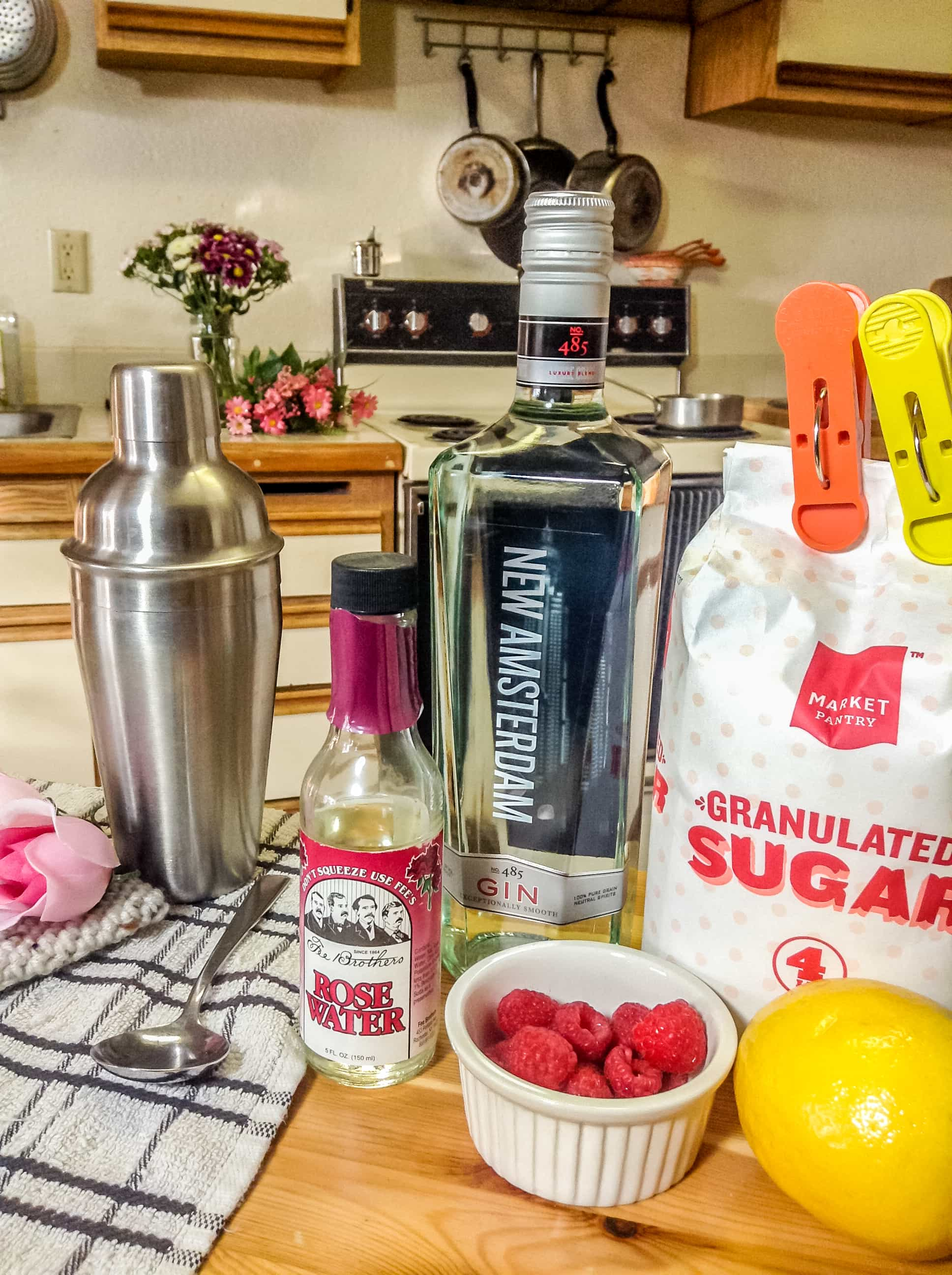 photo of ingredients needed to make Mother's Day rose cocktail