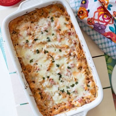 21 Day Fix Super Easy No Boil Creamy Cheesy Chicken Pasta Bake