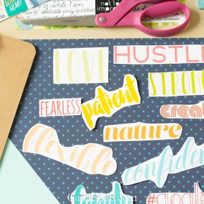 Printable Vision Board Words in Pretty Fonts (also make great Planner Stickers!)
