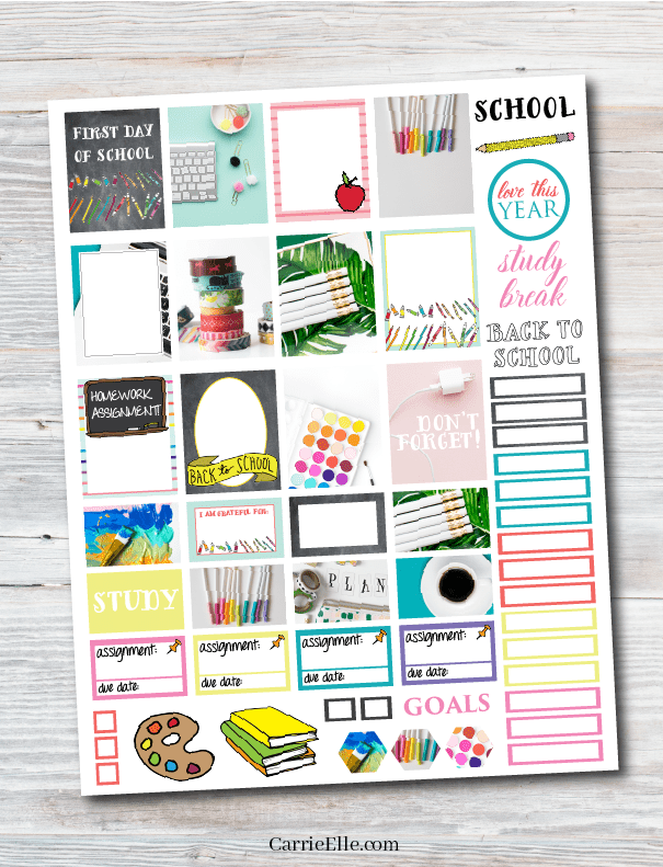 Printable Back-to-School Planner Stickers