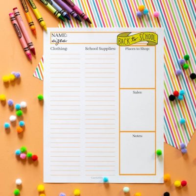 Back to School Printable Shopping List