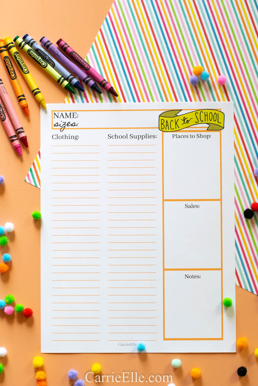 Printable Back to School Shopping List