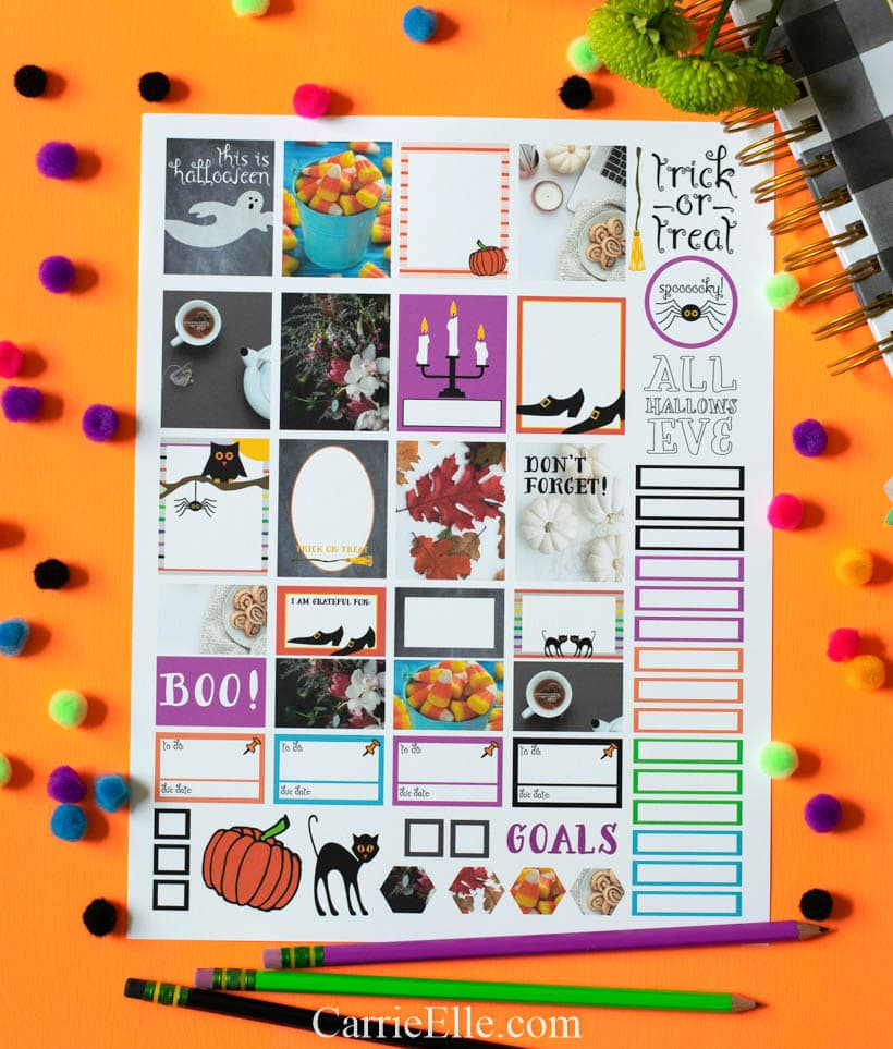 graphic regarding I Printable called Printable Halloween Planner Stickers - Carrie Elle