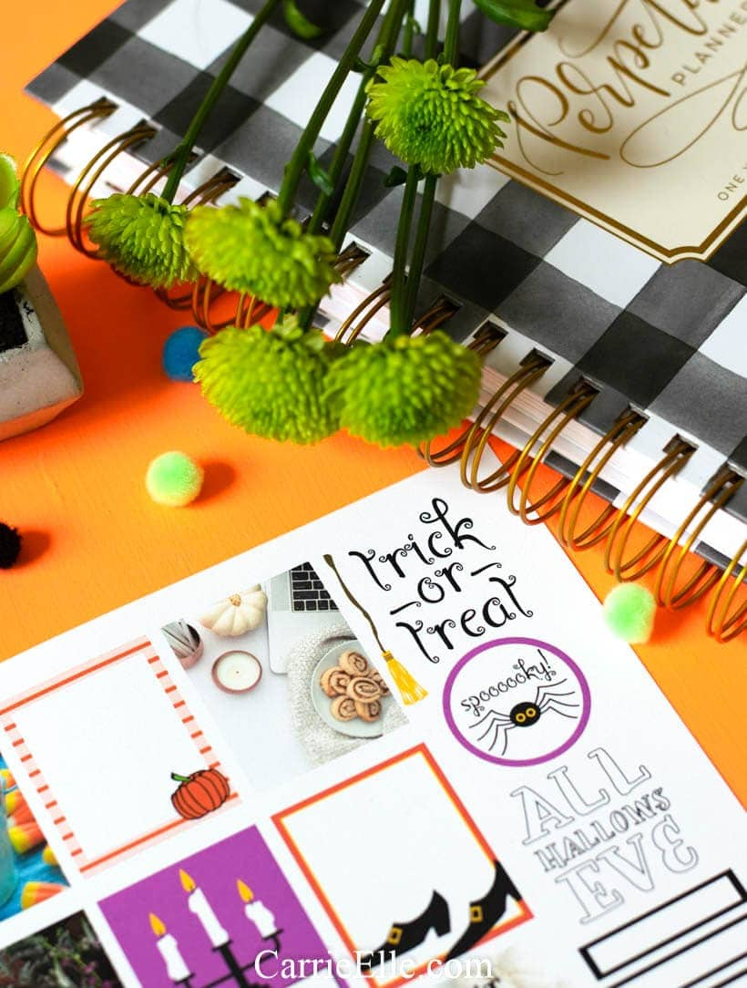 photograph regarding Halloween Stickers Printable named Printable Halloween Planner Stickers - Carrie Elle