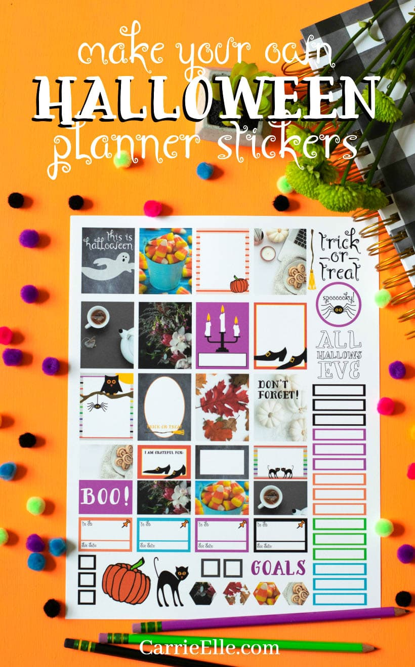 photograph about Halloween Stickers Printable referred to as Printable Halloween Planner Stickers - Carrie Elle