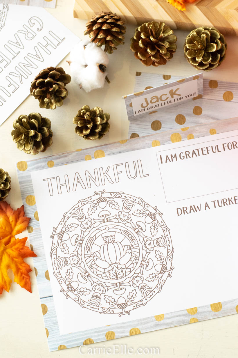 Printable Thanksgiving Table Setting for Kids