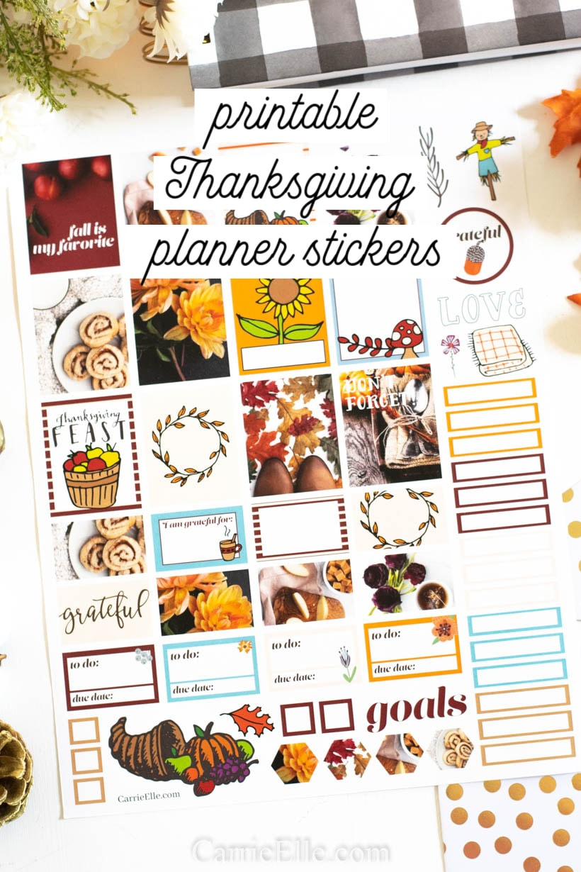 image about Thanksgiving Planner Printable referred to as Printable Thanksgiving Planner Stickers - Carrie Elle