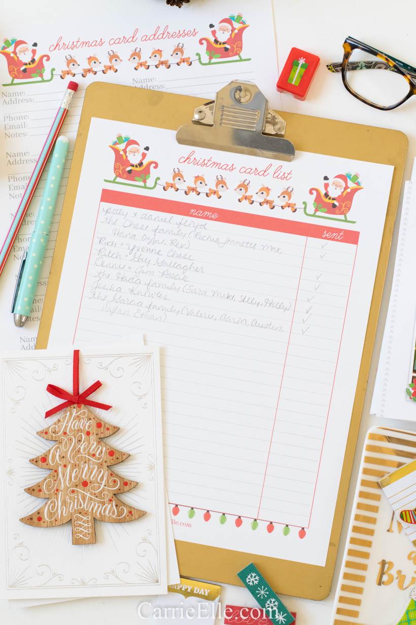 Christmas Card Spreadsheet