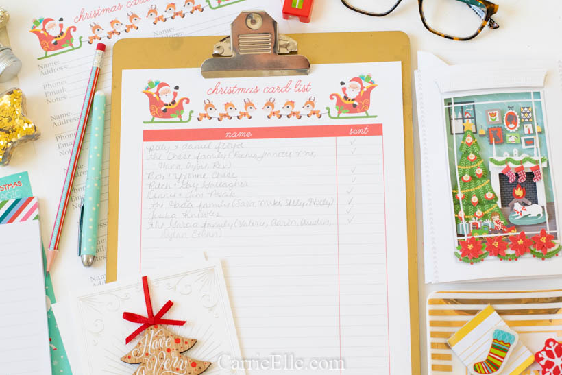 Printable Christmas Card List